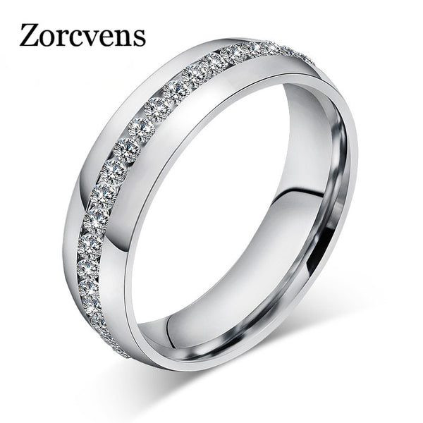 ZORCVENS 2019 New Fashion Crystal Rings for Women Gold Color Color Stainless Steel Jewerly Gifts - OnHerTime
