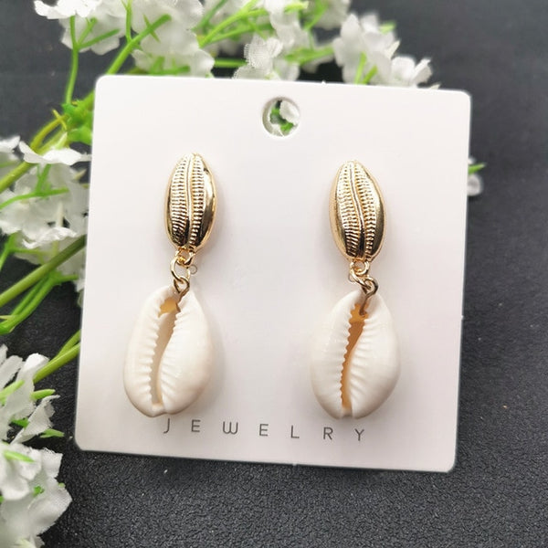 JCYMONG 13 Style Sea Shell Earrings For Women Gold Silver Color Metal Shell Cowrie Statement Earrings 2019 Summer Beach Jewelry - OnHerTime