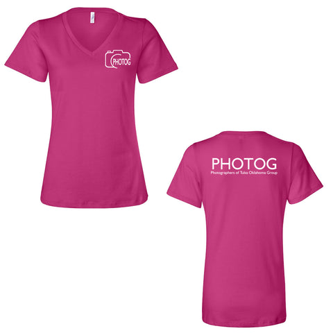 PHOTOG Women's Relaxed Short Sleeve V-Neck