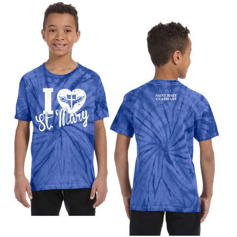 St. Mary Heart - Youth/Adult Tie-Dye Short Sleeve T-Shirt