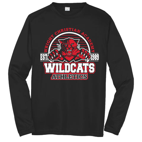 "Wright Christian - ""Wildcats"" Long Sleeve Performance T"