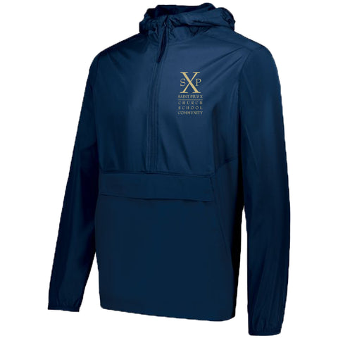 St. Pius X - 1/4 Zip Hooded Packable Pullover