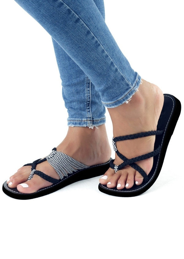 Fashion woman's black cross strap sandals