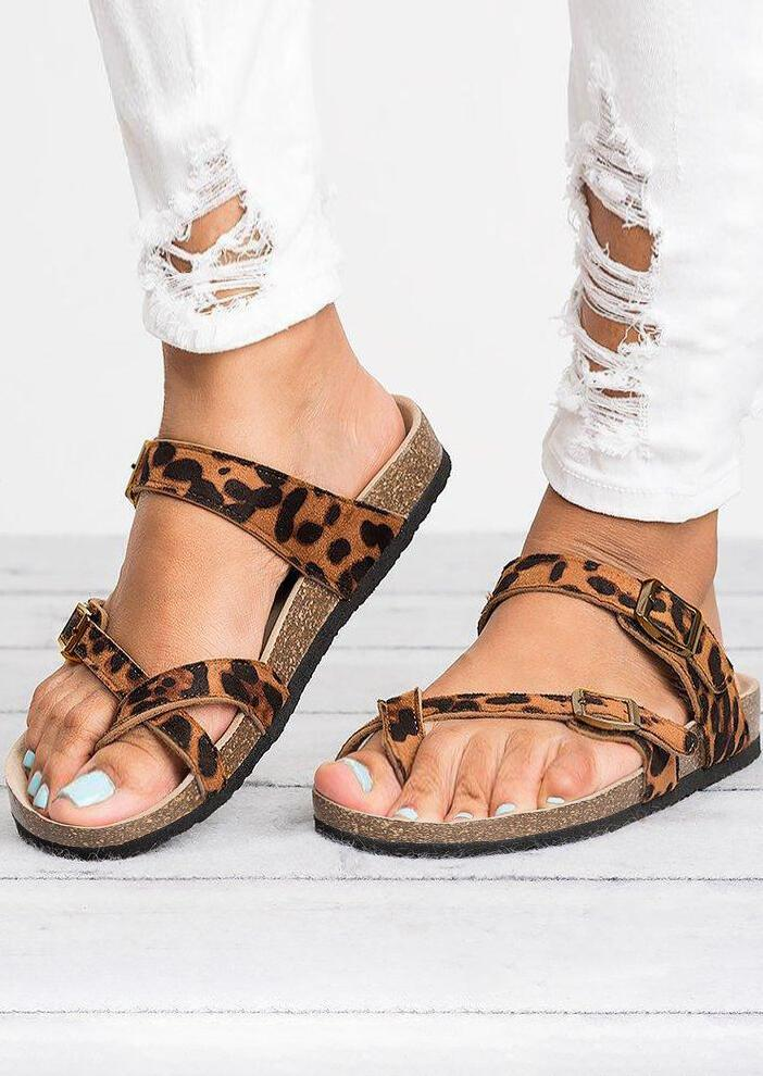 Fashion woman's leopard cork sandals