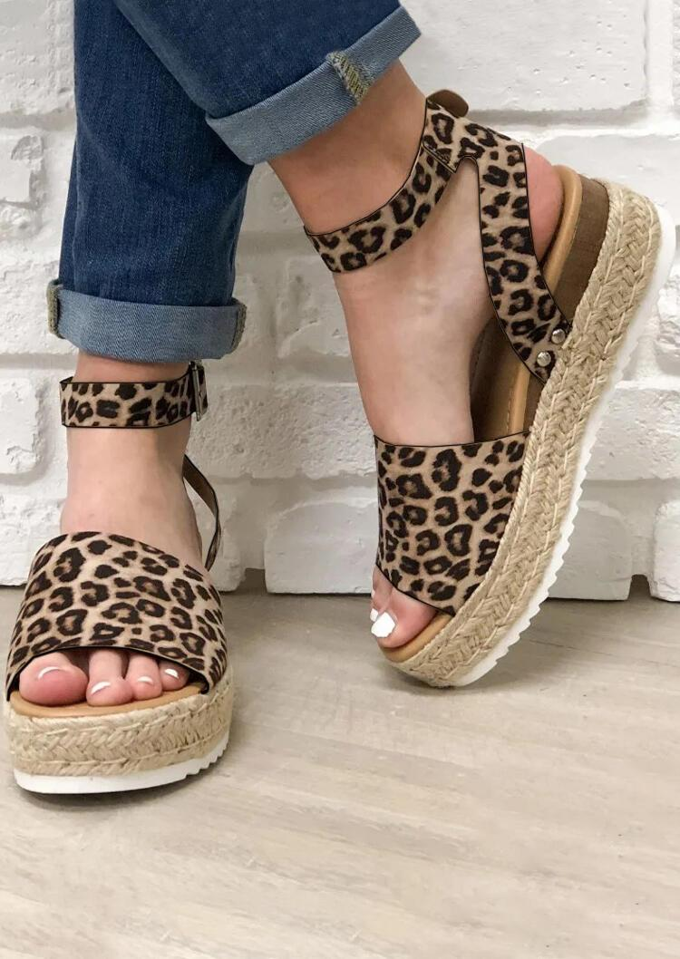 Fashion women's leopard-print platform woven sandals