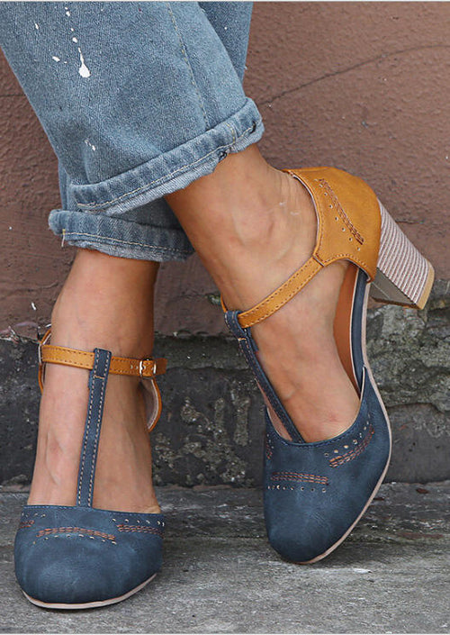 Fashion woman's blue and yellow T-shaped chunky heel sandals