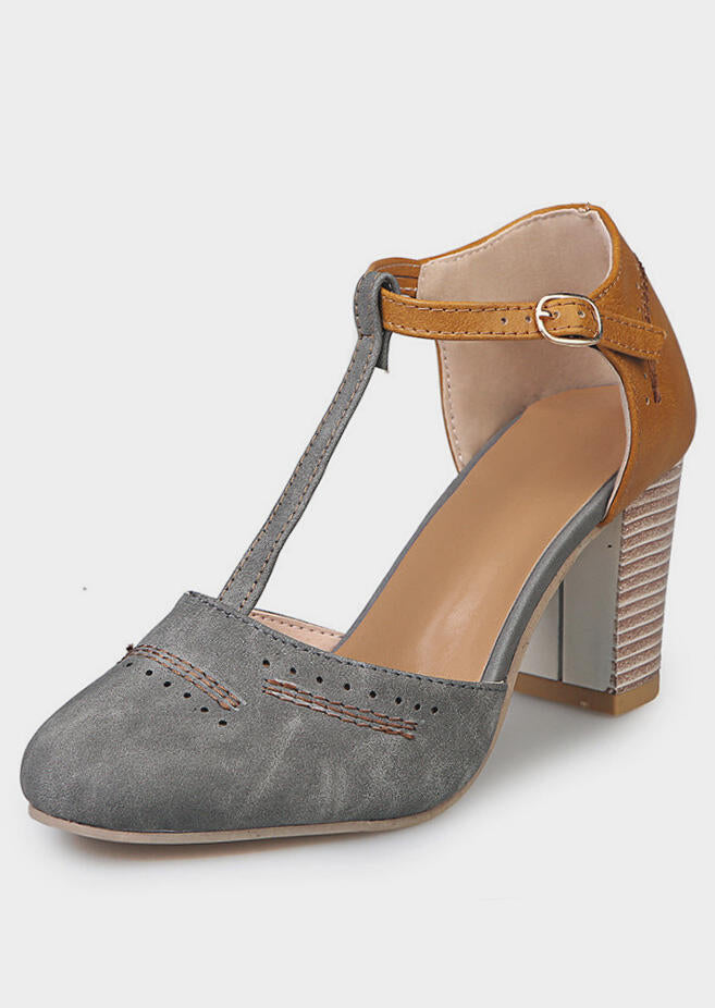Fashion woman's grey and yellow T-shaped chunky heel sandals