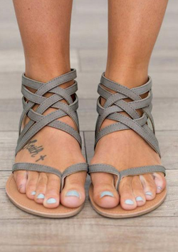 Summer Cross-Tied Zipper Flat Sandals-Grey