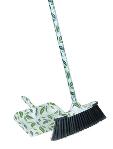 Green/White Leaf Design Broom With Metal Handle.