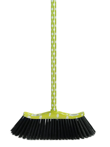 Upright Broom with Polka-Dot Print