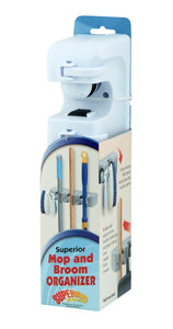 Mop And Broom Holder, Wall Organizer, 3 Slots and 4 Hooks