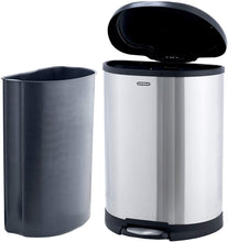 Load image into Gallery viewer, Stainless Steel D Shaped Trash Can, 13 Gallon