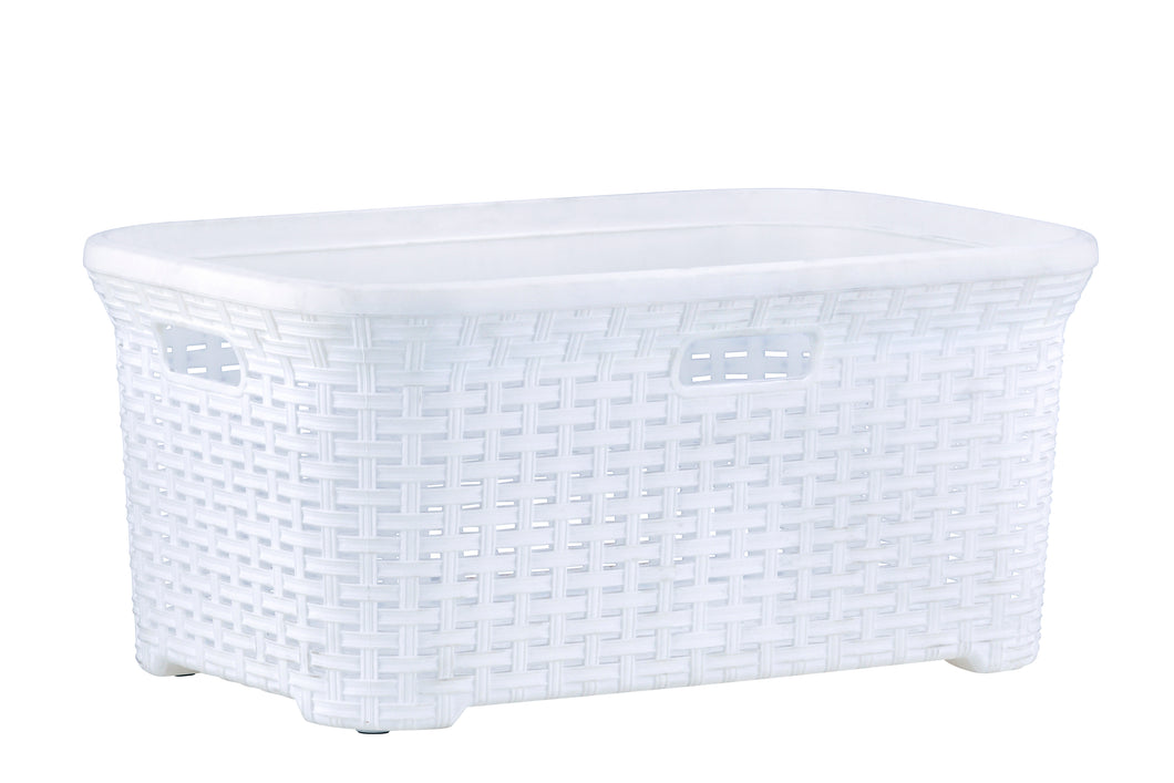 50-liter Wicker Style Laundry Basket with Cutout Handles.
