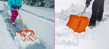 "Load image into Gallery viewer, 16"" Wide Orange Snow Shovel with D-Shaped Wooden Handle."