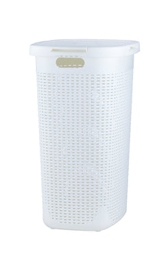 60-liter Deluxe Wicker Style Laundry Hamper with Cutout Handles.