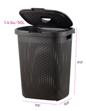 Load image into Gallery viewer, Deluxe Wicker Style Laundry Hamper, 50 Liter.
