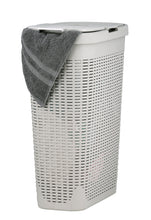 Load image into Gallery viewer, 40-liter Deluxe Wicker Style Slim and Tall Laundry Hamper with Cutout Handles.
