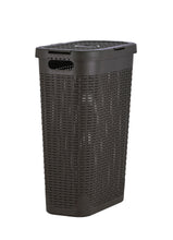 Load image into Gallery viewer, 40-liter Deluxe Wicker Style Slim and Tall Hamper with Cutout Handles.