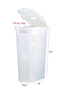 40-liter Deluxe Wicker Style Slim and Tall Hamper with Cutout Handles.