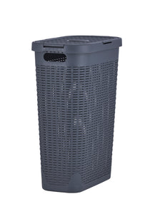 Laundry Basket, Laundry Hamper with Lid, 40-liter Deluxe Wicker Style Slim and Tall Hamper, with Cutout Handles, to Storage Dirty Clothes in Washroom, Bathroom, or Bedroo. By Superio.