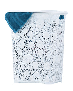 50-liter Lace Style laundry Hamper with Cutout Handles.