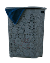 Load image into Gallery viewer, 50-liter Lace Style laundry Hamper with Cutout Handles.