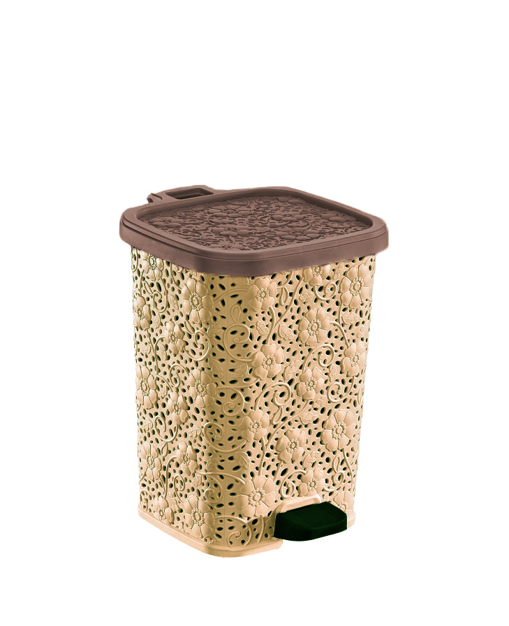 Step-On Trash Can, Lace Design, 6 Qt.