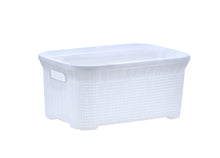 Load image into Gallery viewer, 40-liter Knit Style Laundry Basket with Cutout Handles.