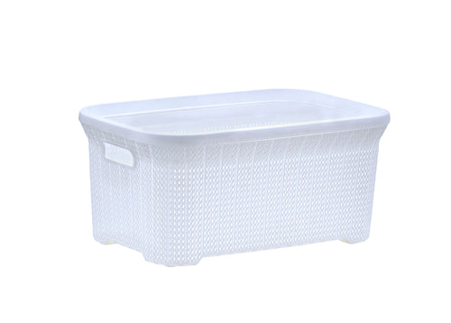 Laundry Basket, Laundry Hamper, 40-liter Knit Style Basket with Cutout Handles, to Storage Dirty Clothes, in Washroom, or Bedroom, Cream Color. By Superio.