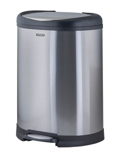 Superio Stainless Steel Garbage Pail - 50 Liter / 13 Gallon D Shaped Trash Can with Lid for Bedroom, Bathroom and Office (50 Liter)