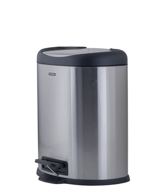 Stainless Steel D Shaped Trash Can, 2 Gallon