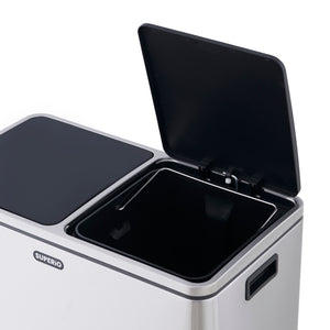 2 Compartment Stainless Steel Trash Can