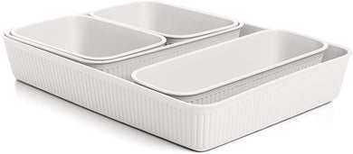 Acanalada Storage Bin Set of 5 White