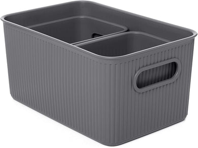 Acanalada Storage Bin Set of 3 Grey