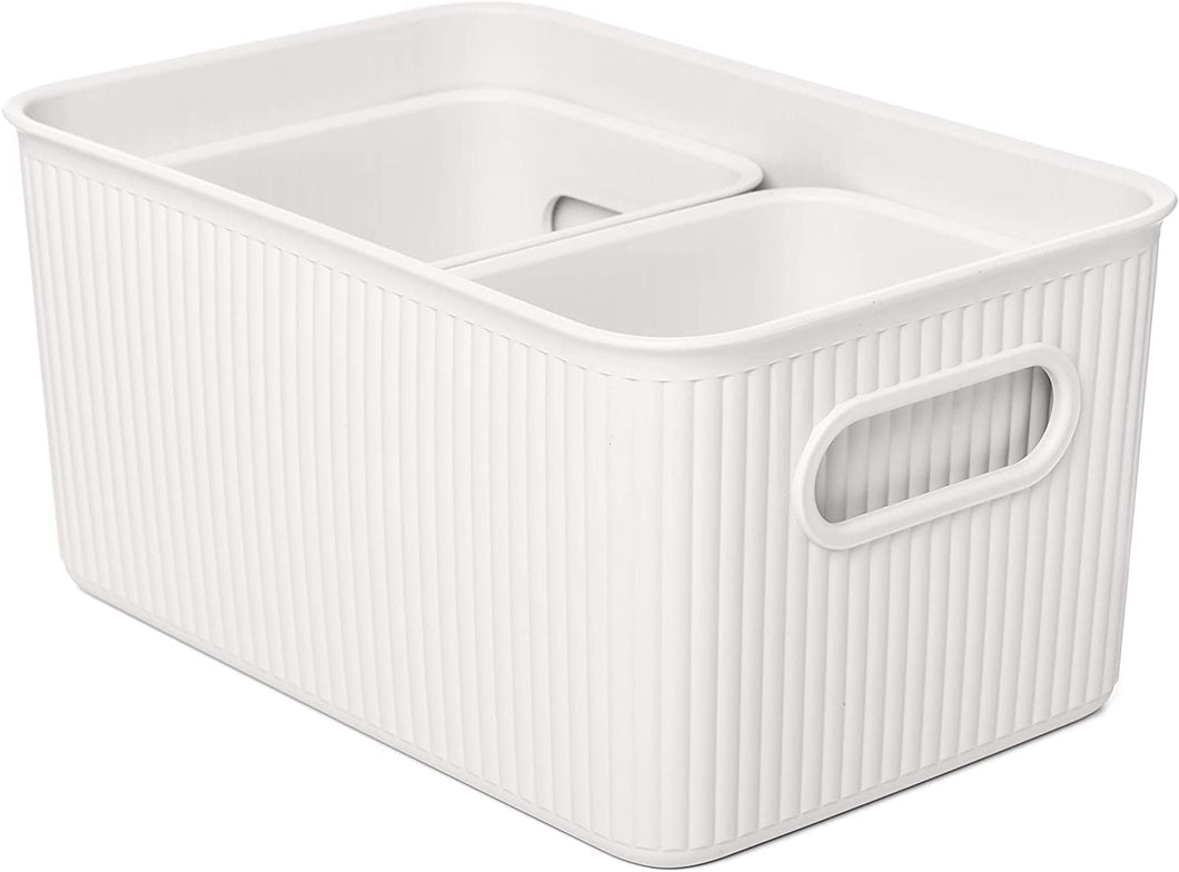 Acanalada Storage Bin Set of 3 White
