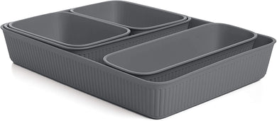 Acanalada Storage Bin Set of 5 Grey