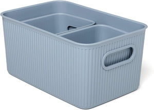 Acanalada Storage Bin Set of 3 Blue