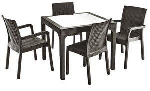 Wicker Weather Resistant Patio Chairs & Table Set (5 Piece Set)