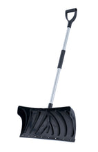 "Load image into Gallery viewer, 24"" Wide Black Pusher Snow Shovel with Metal Handle and Foam Grip."