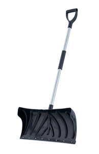 "24"" Wide Black Pusher Snow Shovel with Metal Handle and Foam Grip."