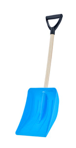 "9"" Wide Blue Steps Snow Shovel with Wooden Handle."