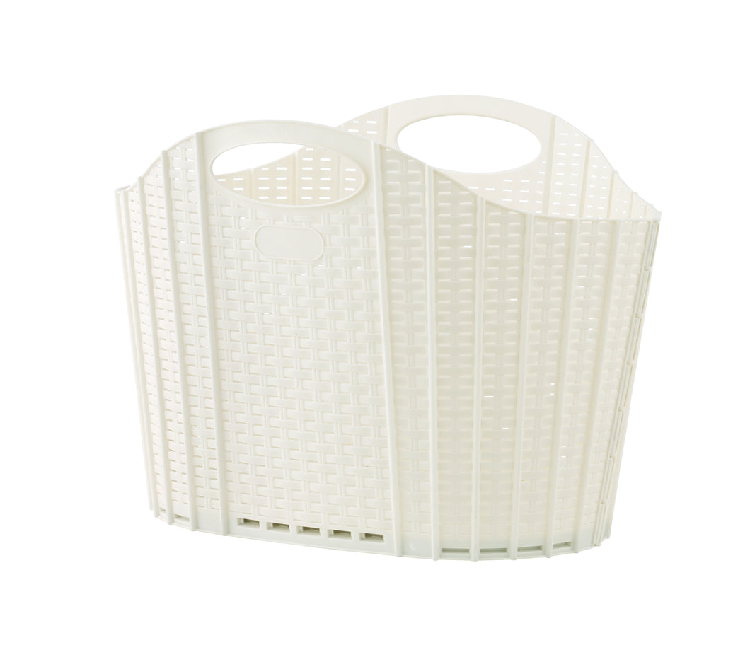 Foldable Ivory Wicker Laundry Basket