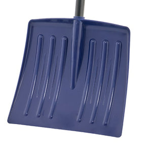 "12"" Navy Kids Snow Shovel with Metal Handle."
