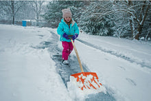 "Load image into Gallery viewer, 12"" Wide Kids Snow Shovel with Wooden Handle."