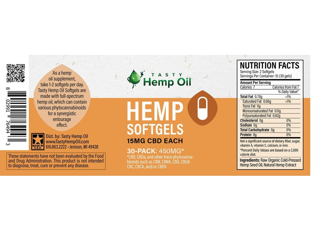 Tasty Hemp Oil CBD Softgels - 450MG