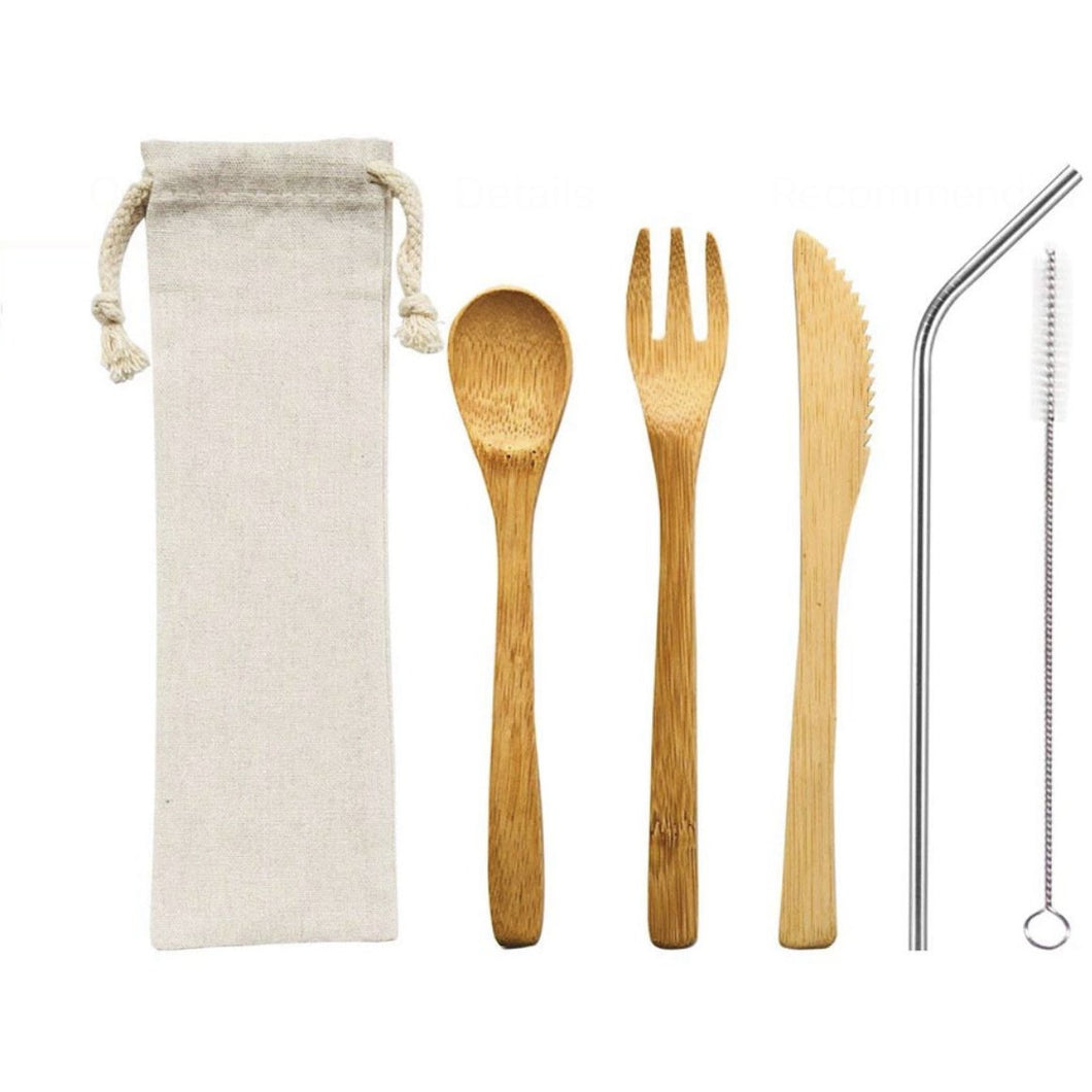 Bamboo Cutlery Set with Cleaning Brush and Pouch