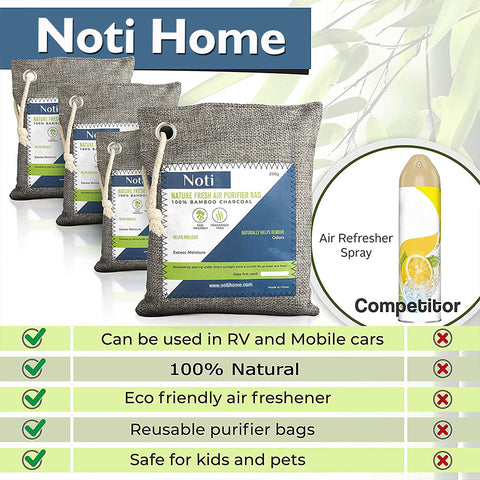 Nature Fresh Air Purifier Bags - Activated Bamboo Charcoal Air Purifying Bag