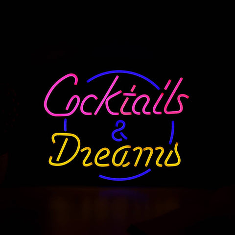 "17""x14"" Cocktail Dream Real Glass Tube Neon Light Sign Tavern Beer Bar Pub Decoration Neon Lamp Board Commercial Lighting"