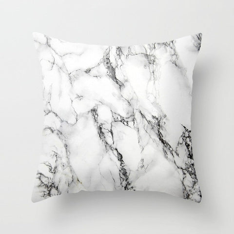 DRAMAQUEEN - GOLD INDIGO MARBLE Throw Pillow