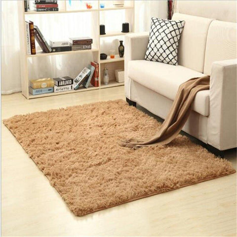 Image of Fiber Soft Carpets For Living Room Bedroom Kid Room Rugs Shaggy Solid Delicate Style-carpets-Eills Collection-5-200X300cm-Eills Collection